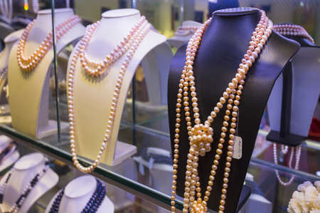 Many necklaces of pearl in store of Vietnam