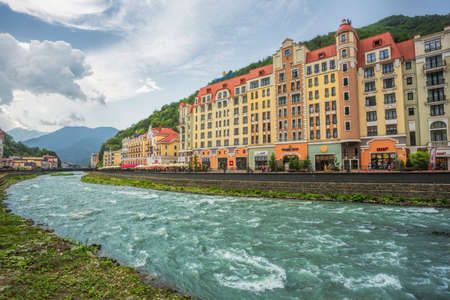 SOCHI, RUSSIA - JUNE 23, 2016: The resort Rosa Khutor in Sochi, Rose Farm ski resort, here are the hotels where living participants and guests of the Winter Olympic Games 2014 Editorial