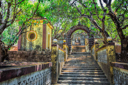 ancient abandoned temple in the jungle of India, Goa