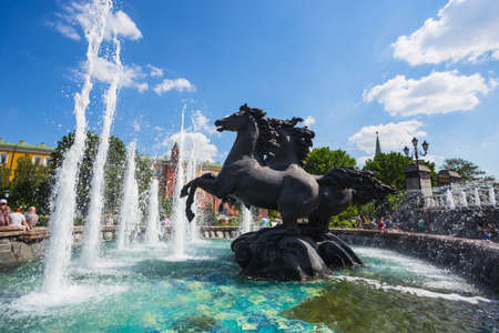 made russia: MOSCOW, RUSSIA - MAY 23: Fountain Four Seasons of the Year in Moscow, Russia on May, 23, 2014. This statue was made by Zurab Tsereteli on Manege Square in 1996