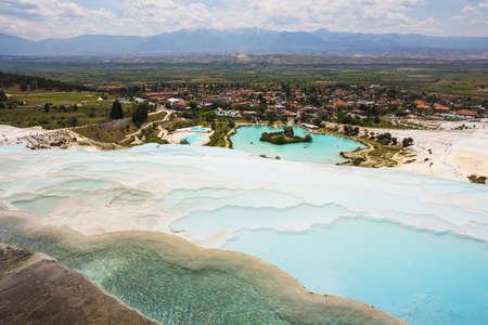 Pamukkale 터키의 이국적인 진주, 희귀 한 자연 현상 스톡 콘텐츠