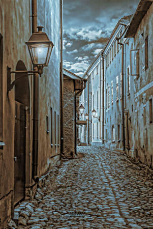 narrow streets of the old city of Turku in Finland