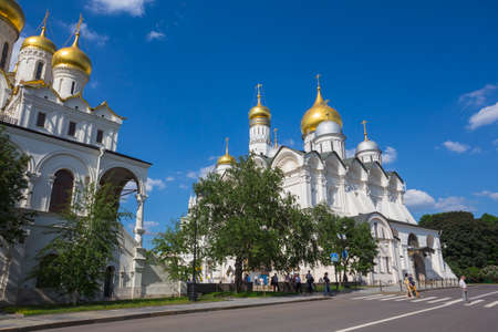 sobor: MOSCOW, RUSSIA - MAY 23: Cathedral Square of Moscow Kremlin in Russia on May 23, 2013. Square has developed in XIV century with construction of first cathedrals in architectural center of Kremlin