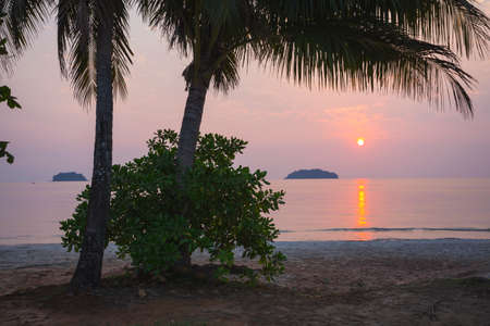 chang: Sunset on tropical beach. Siam bay. Province Trat. Koh Chang island. Thailand