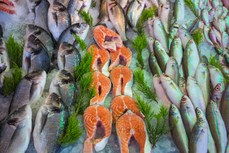 uncooked: Sale of fish and seafood in the eastern markets in Turkey. Background