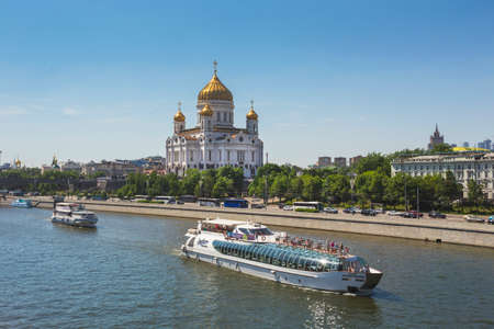 MOSCOW - MAY 20, 2014: View of Christ the Savior Church in Moscow, Russia. A popular touristic landmark.