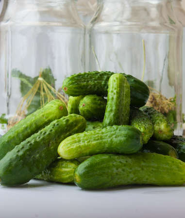 harvesting and canning cucumbers for winter Stock Photo