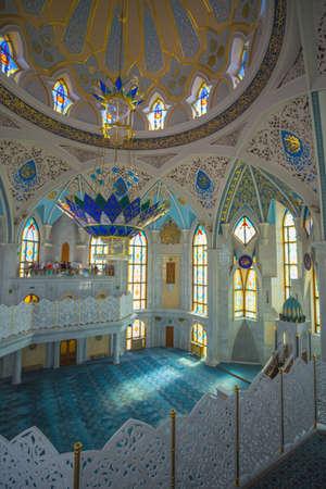 Russia, Kazan, 13 AUGUST 2017.Interior Muslim mosque with blue domes in the Kazan Kremlin Editorial