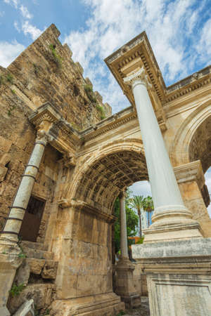 View of Hadrians Gate in old city of Antalya Turkey Stock Photo