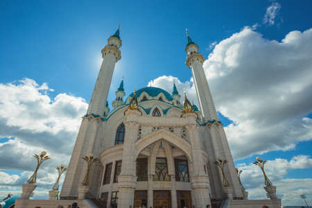 Russia, Kazan, 13 AUGUST 2017.Muslim mosque with blue domes in the Kazan Kremlin Editorial