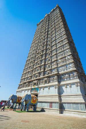 MURUDESHWAR, INDIA - MARCH 12 2017: Gopuram of Murudeshwar Temple was built in 2008, dedicated to Hindu god Shiva and it is 72 meters high.