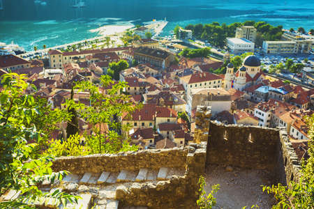 Montenegro. 1 August, 2017. Top view of the Bay of Kotor and the old town. Europe. Montenegro Stock Photo