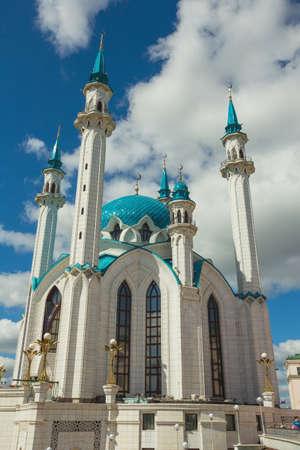 Russia, Kazan, 13 AUGUST 2017.Muslim mosque with blue domes in the Kazan Kremlin Editorial