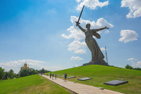 Volgograd, Russia - July 4, 2016: Motherland Calls is a statue in Mamayev Kurgan in Volgograd, Russia, commemorating the Battle of Stalingrad of World War II. Mamayev Kurgan. Stalingrad battle. Editorial