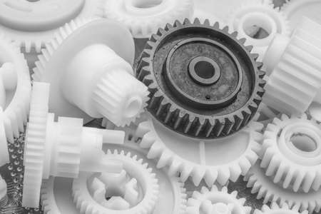 El engranaje de plástico Foto fragmento de la máquina. Foto de archivo - 87175666