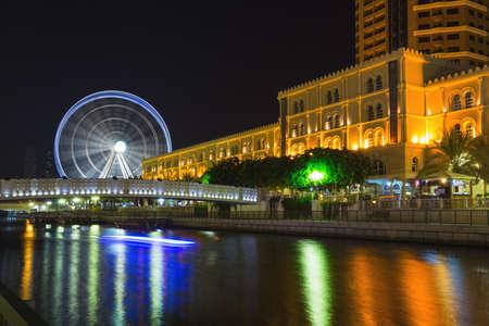 Eye of the Emirates - ferris wheel in Al Qasba - Shajah, United Arab Emirates Stock Photo