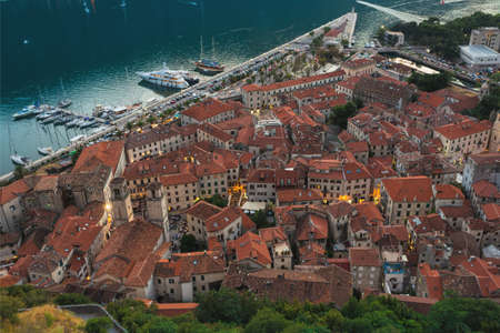 Montenegro. 1 August, 2017. Top view of the Bay of Kotor and the old town. Europe. Montenegro Editorial