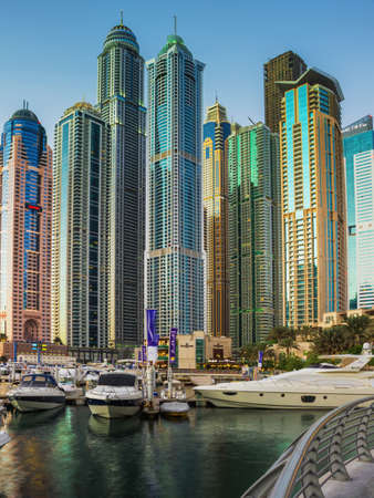 residential construction: DUBAI, UAE - NOVEMBER 16: Yacht Club in Dubai Marina. UAE. November 16, 2012. Dubai was the fastest developing city in the world between 2002 and 2008.