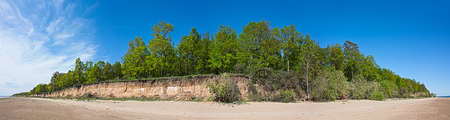 panorama summer landscape with deciduous forest on the island of a river Volga Stock Photo