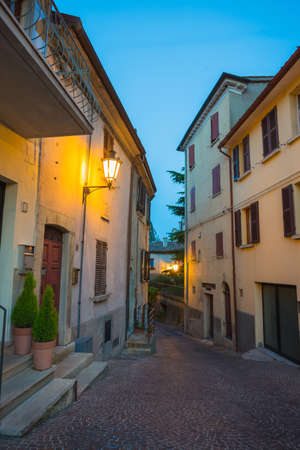 Evening street in the old town of San Marino, Italy