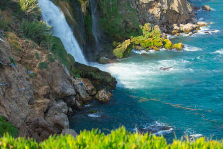 Turkey, Antalya on May 23, 2017. Lower Duden waterfall on the Mediterranean coast, 8 km from the center of Antalya towards Lara beach