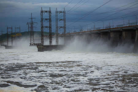 Hydroelectric power plant on the Volga. Water dumping 写真素材
