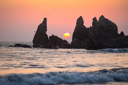 The Sunset at Arambol in March. Goa. India
