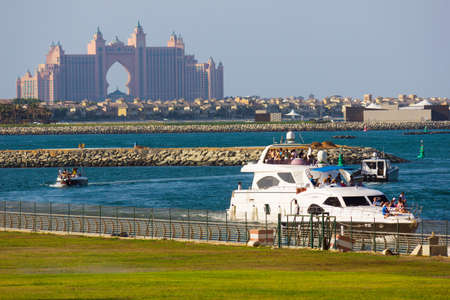 DUBAI, UAE-NOVEMBER 16: View Atlantis Hotel on November 16, 2012 in Dubai, UAE. The resort consists of two towers linked by a bridge, with a total of 1539 rooms.
