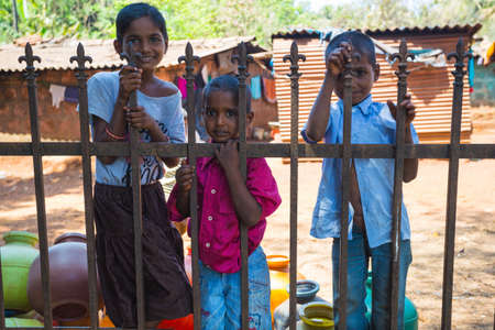 Goa, INDIA - MARCH, 2017: Children closeup, Rural people's daily lifestyle in rural village, India, South East Asia.