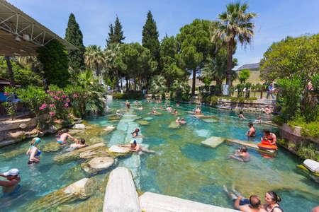 Pamukkale, Turkey - 21 MAY 2017 - Thermal pool Cleopatra in Pamukkale