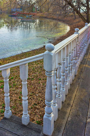 railing with balusters on background of the countryside Banque d'images