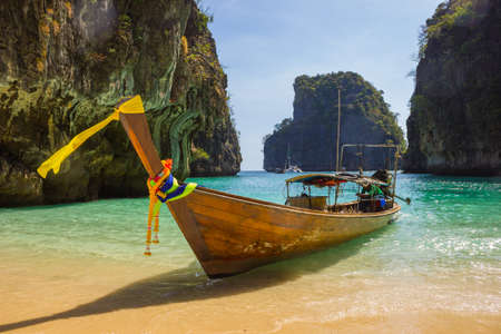 Boats at sea against the rocks in Thailand. Phi Phi Island 写真素材