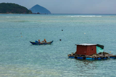 The huts of Vietnamese fishermen on the water near the city of Nha Trang 写真素材