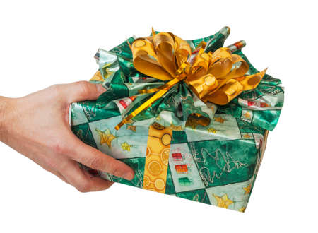 gift in hand isolated on white background