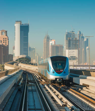 DUBAI, UAE - NOVEMBER 18: Dubai Metro. A view of the city from the subway car nov 18. 2012.  Dubai Metro as worlds longest fully automated metro network (75 km) on November 18, 2012, Dubai, UAE.