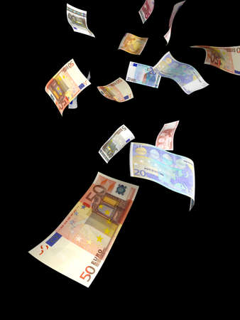 windfall: Euro paper currency of different denominations falling down like rain. Isolated on black Stock Photo