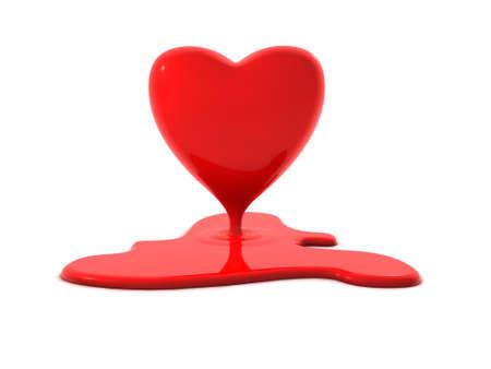 break in: bleeding or melting heart. Perfect symbol for valentines day, burning love or a broken heart.