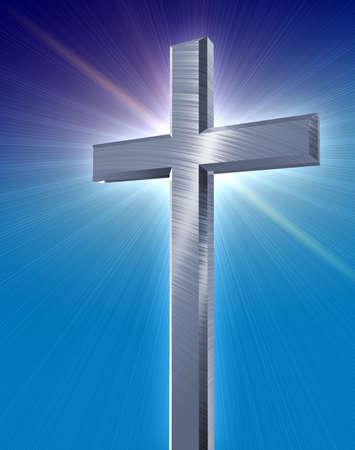 seigneur: sainte croix en argent en jetant un �clat bleu � l'avant d'un fond bleu d�grad�