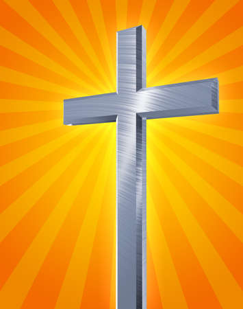 praise and worship: brushed metal christian cross casting an orange burst of rays  Stock Photo