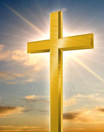 pasqua cristiana: croce d'oro che brilla in fronte arancio tramonto