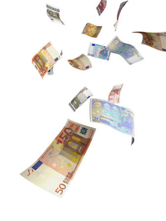 Euro paper currency of different denominations falling down like rain. Isolated view. photo
