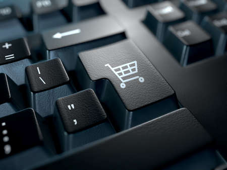 web shop: close-up of a keyboard with the enter key replaced with a shopping cart icon. E-commerce concept