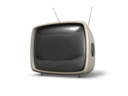 3D retro TV set isolated on white  photo