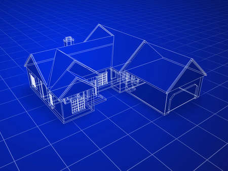 cad drawing: Blueprint style 3D rendered house. White outlines on blue background.