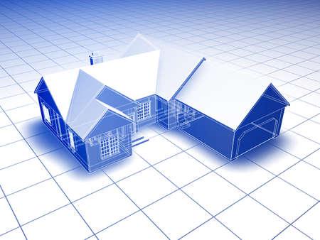 cad drawing: 藍圖式3D渲染的房子。在白色背景的藍色陰影。