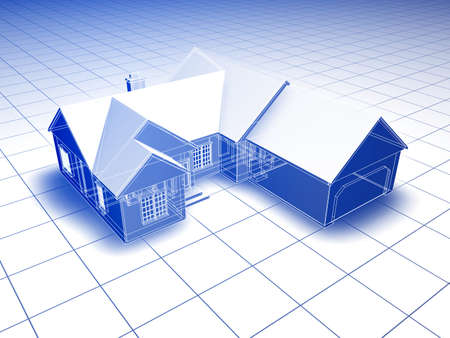 drafting: Blueprint style 3D rendered house. Blue shading on white background.