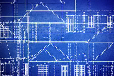blue print style floor plan lines on grunge background  photo