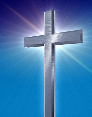 catholic cross: holy silver cross casting a blue burst in front of a blue gradient background Stock Photo