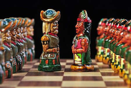 Ecuadorian chess pieces between Incas and Spaniards  photo