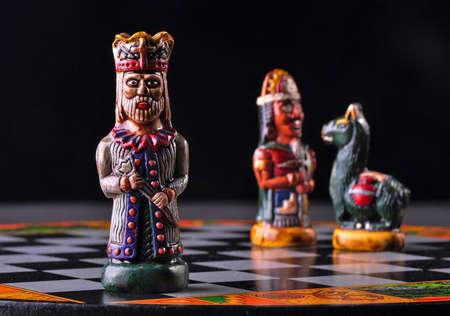 Ecuadorian chess pieces between Incas and Spaniards  Stock Photo - 18946448